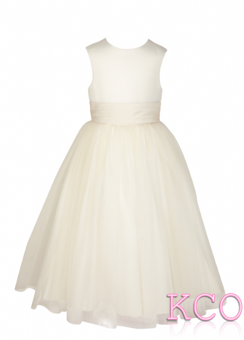 Style FJD922~ Pleat Sash Dress Ivory/Ivory
